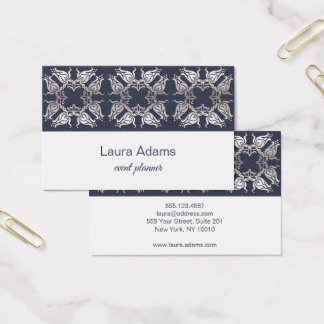 Elegant Baroque Style navy Silver Flower texture Business Card