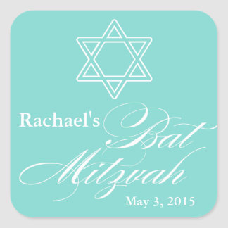 Elegant Bat Mitzvah Party Favor Labels|Tags Square Sticker