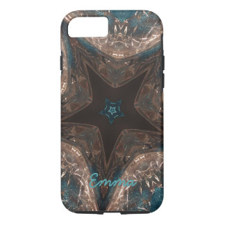 Elegant Batik Look Kaleidoscope Star Turquoise iPhone 8/7 Case