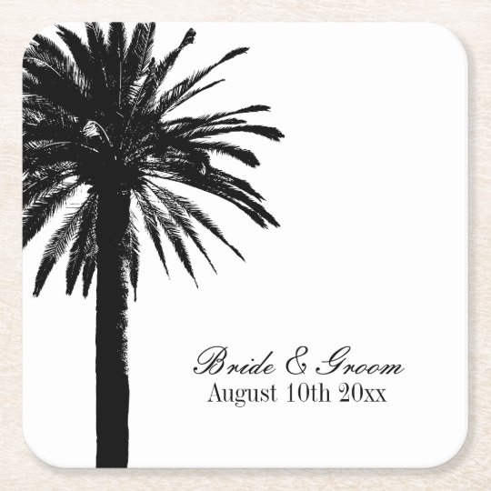 Elegant beach destination wedding party coasters