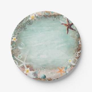 Elegant Beach Sea Starfish & Pearls Beachy Party Paper Plate