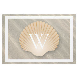 Elegant Beach & Seashell Monogram Doormat