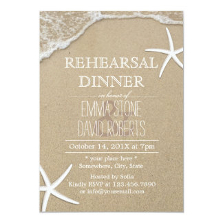 Elegant Beach Starfish Wedding Rehearsal Dinner 13 Cm X 18 Cm Invitation Card