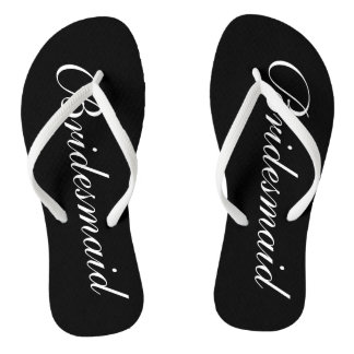 Elegant beach wedding flip flops for bridesmaids