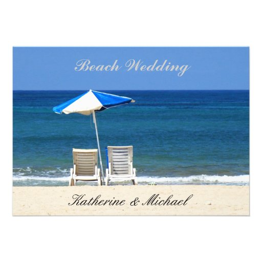 Elegant Beach Wedding Invitation Chairs Personalized Invites