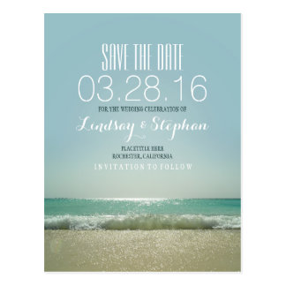 Elegant Beach Wedding Save the Date Postcard