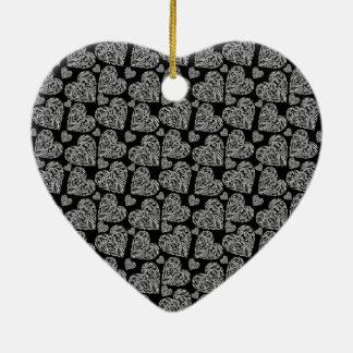 Elegant Beautiful Black Hearts Custom Design Ceramic Heart Decoration