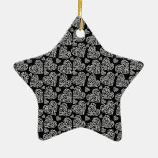 Elegant Beautiful Black Hearts Custom Design Ceramic Star Decoration