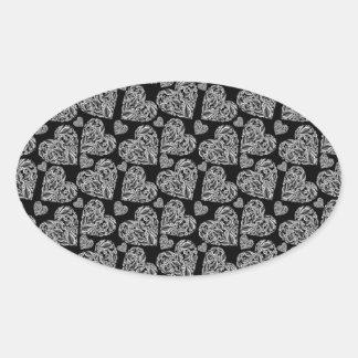 Elegant Beautiful Black Hearts Custom Design Oval Sticker
