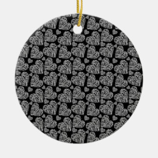 Elegant Beautiful Black Hearts Custom Design Round Ceramic Decoration