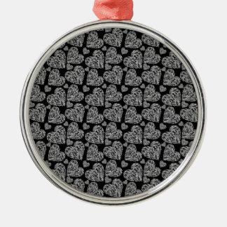 Elegant Beautiful Black Hearts Custom Design Silver-Colored Round Decoration