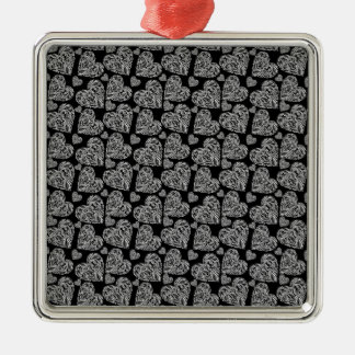 Elegant Beautiful Black Hearts Custom Design Silver-Colored Square Decoration