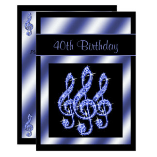 Elegant Beautiful Blue Treble Clefs Birthday Invitation Card A E Ae Gduf Jpg 324x324 Cool 40th