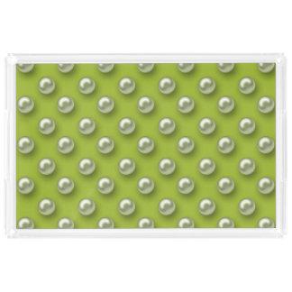 Elegant Beautiful Green Pearls Acrylic Tray