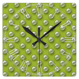 Elegant Beautiful Green Pearls Square Wall Clock
