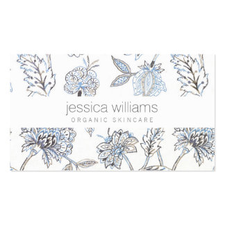 Elegant Beauty Blue Floral Pattern Cosmetologist Pack Of Standard Business Cards