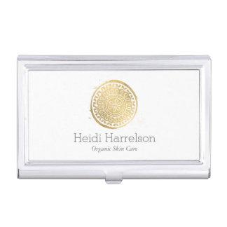 Elegant Beauty Boho Chic Faux Gold Mandala Logo Case For Business Cards