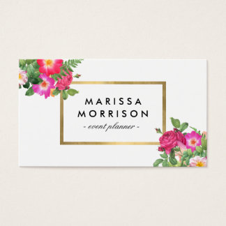 Elegant Beauty Florals White and Faux Gold Business Card