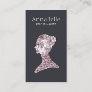 Natural hair business cards business card printing zazzle uk elegant beauty girls face hand drawn floral salon business card reheart Choice Image
