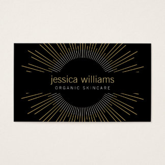 Elegant Beauty Gold Sunburst on Black Business Card
