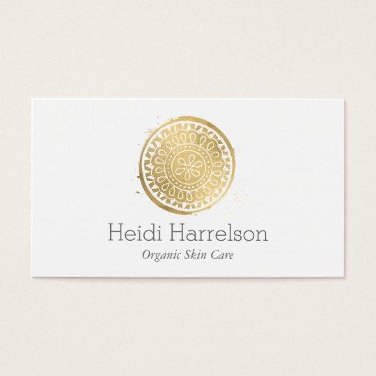 Elegant Beauty Mandala Logo Faux Gold Business Card