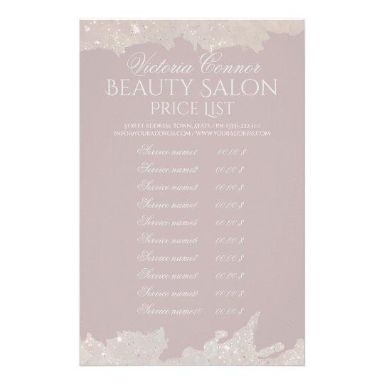 Elegant Beauty Salon Price List Pink Flyer