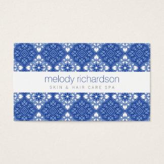 Elegant Beauty Vintage Mediterranean Blue Pattern Business Card