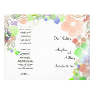 Elegant Beige And Multi Color Pansies With Swirls 21.5 Cm X 28 Cm Flyer
