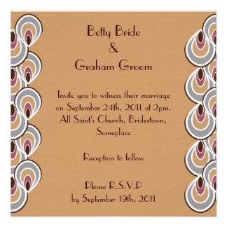 Elegant Beige & Brown Art Deco Linen Invites