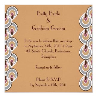 "Elegant Beige & Brown Art Deco Linen Invites 5.25"" Square Invitation Card"