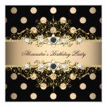 Elegant Beige Cream Gold Black Polka Birthday 13 Cm X 13 Cm Square Invitation Card