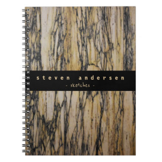 Elegant beige tan black marble stone architect spiral notebook