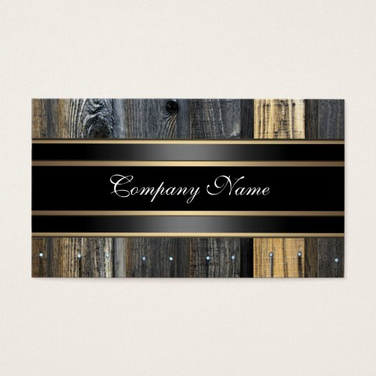 Elegant Beige Wood Look Black Bronze Business Card