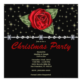 Elegant Bells and Stars CUTE Christmas Holiday Par 13 Cm X 13 Cm Square Invitation Card