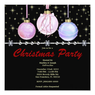 Elegant Bells and Stars CUTE Christmas Holiday Par 5.25x5.25 Square Paper Invitation Card