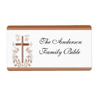 Elegant Bible Cross Label