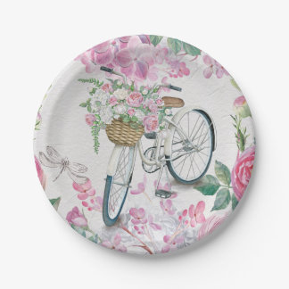 Elegant Bicycle and Flowers Paper Plate