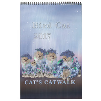 Elegant Bird Cat 2017 Single Page Calendar