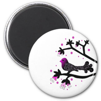 Elegant Bird on Branch Silhouette 6 Cm Round Magnet