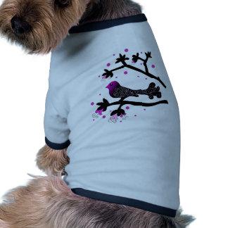 Elegant Bird on Branch Silhouette Ringer Dog Shirt