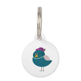 Elegant Bird Small Round Pet Tag