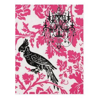 Elegant Birds on Black Chandelier Pink Damask Postcard