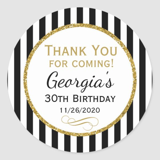 Elegant Birthday Black Gold Thank You Favour Tags