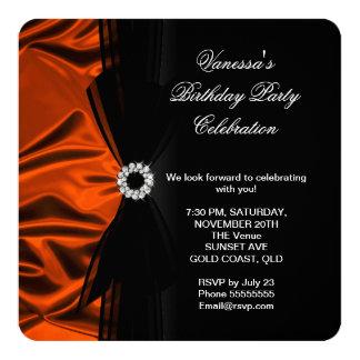 "Elegant Birthday Burnt Orange Silk Look Black 2 5.25"" Square Invitation Card"