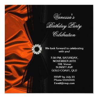 "Elegant Birthday Burnt Orange Silk Look Black 5.25"" Square Invitation Card"