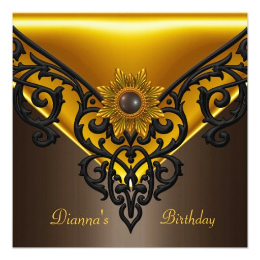 Elegant Birthday Coffee Brown Black Gold Yellow Personalized Announcement