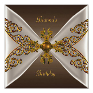 Elegant Birthday Coffee Brown Old Gold Jewel 2 Card