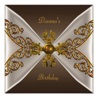Elegant Birthday Coffee Brown Old Gold Jewel 2 Personalized Invite
