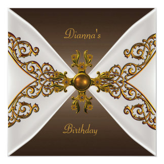 Elegant Birthday Coffee Brown Old Gold Jewel 3 Personalized Invite