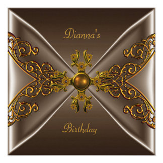 Elegant Birthday Coffee Brown Old Gold Jewel Personalized Announcement